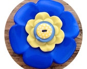 Large, blue and yellow, polka dot, flower button, brooch