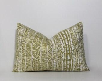 Lumbar pillow cover amber. Robert Allen global print.  Decorative pillow cover. Neutral home decor accent.