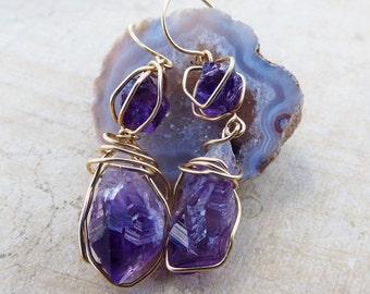 rough amethyst earrings, goldfilled wire