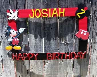 Red and Black Mickey Mouse or any theme you want Party Photo Prop Frame