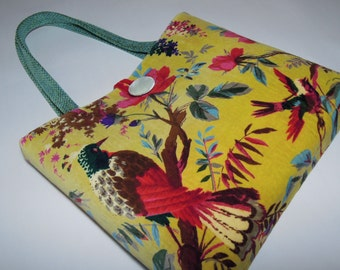 Tote Bag / Patchwork Bag  Handmade from Soft Upholstery Velvet Suede Fabrics with Floral, Birds and Batik Lines Patterns in Viabrant Colors