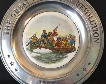 Vintage Plate Great American Revolution 1776 Washington Crossing Delaware Pewter Porcelain Patriotic
