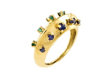 Vintage, Sapphire, Emerald, Multistone, MOD Style, 14k, Gold, Yellow Gold Ring