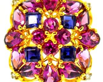 3 CT Fine Amethst Rhodolite Garnet Yellow Gold Ring