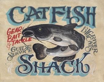 Catfish Shack Fishing  Print