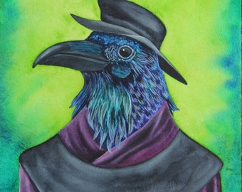 Watercolor Raven Art Anthropomorphic Art Animals in Clothes Animals in Suits Raven Wall Ar Raven illustration Bird Art Print Raven Painting