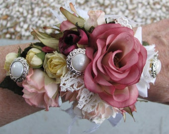 Wrist Flower Corsage Wristlet for Weddings Proms and Special Events Shabby Chic Vintage Victorian Style Floral Bracelet