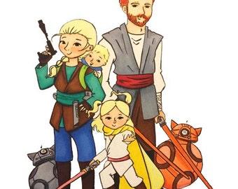 Custom Family Portrait, Star Wars themed Family Portrait