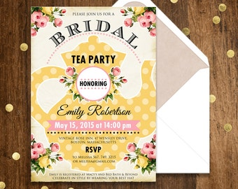 Printable Bridal Shower Invitation, Bridal Brunch, Bridal Tea Party INSTANT DOWNLOAD Editable PDF Retro Yellow Invite Shower the Bride
