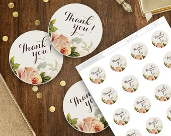 Rustic Labels Printable, Floral Stickers, Thank you! circle sticker, Mason Jar Labels Shabby Chic Label Sticker DIY Editable PDF Template