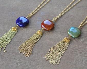 Long Tassel Necklace - Long Tassle Necklace - Long Blue Necklace - Long Red Necklace - Long Teal Necklace - Long Gold Necklace - Gold Tassel