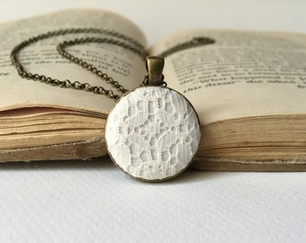 cream lace fabric pendant necklace antique bronze round chain vintage inspired romantic Bridesmaid jewelry gift for her off white ivory