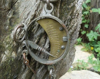 Absolutely Splendid Antique French Iron & Brass Weighing Scales. 18th Century . Spring Scales 150 Kg Mancur / Moon scale.