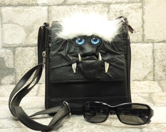 Purse With Face Small Messenger Bag Cross Body Monster Harry Potter Labyrinth Black Leather