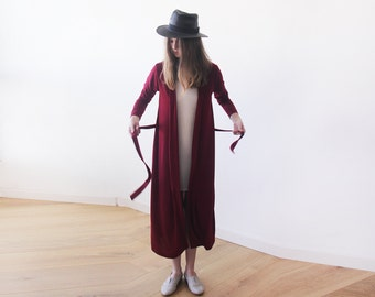 Knitted maxi bordeaux cardigan with pockets ,Red maxi knit autumn coat 2012