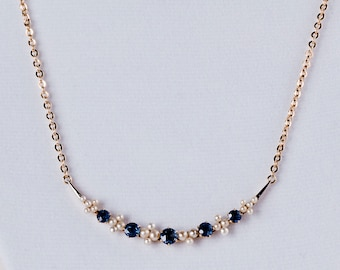 Antique 1920's 14 K Yellow Gold Pearl and Sapphire Crescent Necklace