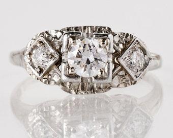 Vintage Engagement Ring - Vintage 1940's 18k White Gold Diamond Engagement Ring