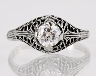Antique Engagement Ring - Edwardian Engagement Ring - Antique Edwardian 14k White Gold Filigree Diamond Engagement Ring