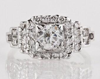 Antique Engagement Ring - Antique 1920s Art Deco Platinum Diamond Engagement Ring