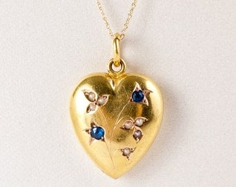 Antique Heart Pendant - Charming 1900's Antique Edwardian 18 Karat Yellow Gold Puffed Heart Pendant with Sapphires and Seed Pearls