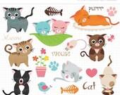ON SALE - Love Cats Clip Art / Digital Clipart - Instant Download