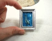 Miniature Original Artwork Dollhouse Painting  Heron Bird Collectible Miniature Art Miniature Painting Handpainted Framed Original Art