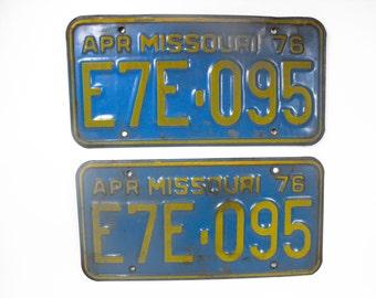 Vintage Missouri License Plates -  Pair of 1976 Missouri Plates, Man Cave Decor, Garage Decor, Farmhouse Decor, Retro Decor