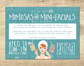 Rodan and Fields Invitation, Digital Download, Custom Invitation, Business Launch, Mimosas and mini facials, mason jar, spa day