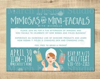 Rodan and Fields Invitation, Digital File, Custom Invitation, Business Launch, Mimosas and mini facials, mason jar, spa day
