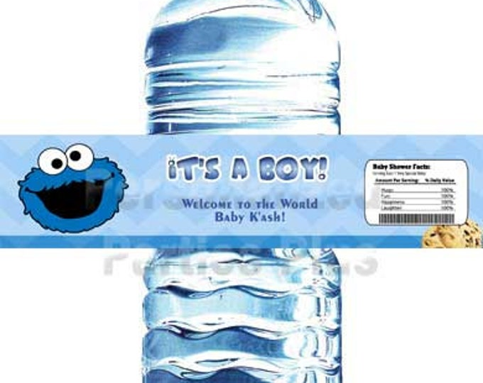 Cookie Monster water bottle labels | Cookie Monster baby shower water bottle labels