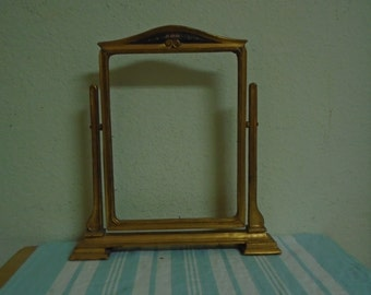 Vintage Table / Desk / Mantel /  Gold Frame / With Glass / Hand Painted Flowers /Beautiful