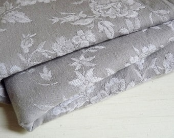 """Reserved for D .... Vintage FRENCH DAMASK TICKING, Gray with a White Floral Pattern. long 65cm x wide 148cm or long 25.5 """" x wide 58 """"."""