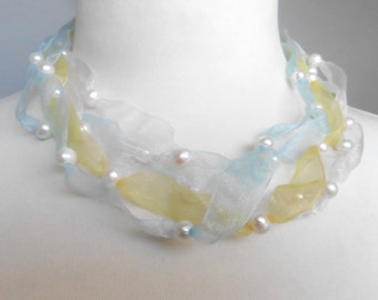 Necklace genuine pearls on silk ribbon bridal jewelry colourful romantic playful