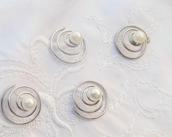 Pearl curlies,pearl hair swirls,wedding pearl jewelry