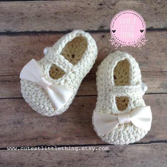 Baby Girl Shoes Crochet Baby Booties Baptism Christening