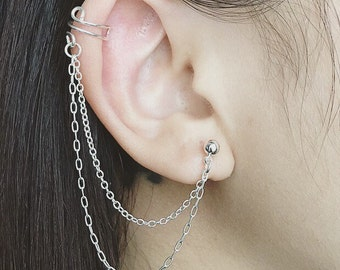Sterling silver double chain ear cuff non piercing cartilage