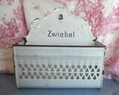 Antique German Enamelware Onion Basket, early 1900's, Zwiebel, Kitchen Wall Decoration