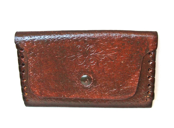 Leather purse for money from 60s New vintage Repainted in brown melange Two compartmens