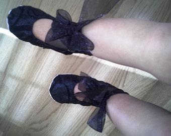 Christmas Ballet Flats  Girls Black Satin Ballet Shoes