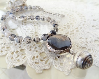 Striped Grey Agate Necklace, Grey Jewelry, Striped Grey Agate Pendant, Stone Jewelry, OOAK,Elegant,Feminine, Women Gifts, Mother's Day Gift