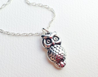 All Sterling Owl Necklace, minimalist jewelry, sterling jewelry, dainty necklace,