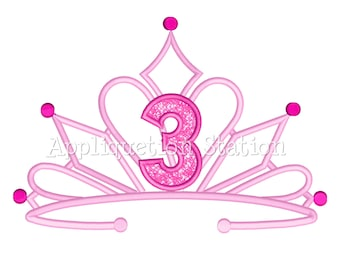 Tiara THREE Crown Machine Applique Embroidery Design fancy Birthday princess 3 third INSTANT DOWNLOAD