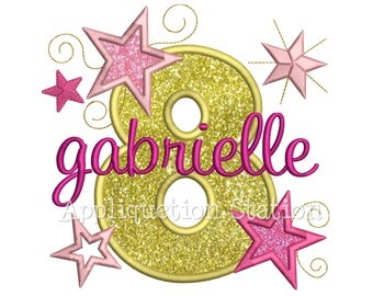 Star Number Eight 8th Birthday Applique Machine Embroidery Design INSTANT DOWNLOAD