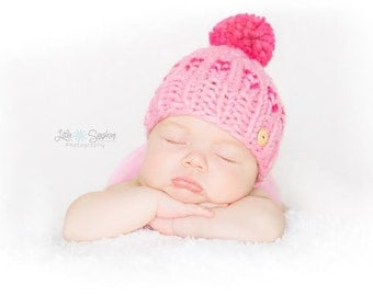 Baby and Kids Fair Isle Knitted Hat, Knit Hat with Pompom and Button, Newborn Baby Chunky Hat, Bright Colors, Colour Choice