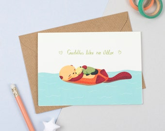 Cuddly Baby Otter Card