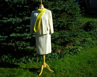 60's boucle wool three piece suit, winter white and lemon yellow, skirt, jacket and wool blouse,  by Arthur Jay