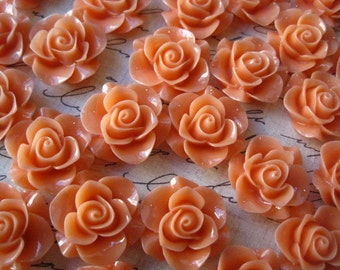 Resin Rose Flower, 6 to 12 pcs 20mm Coral Resin Flower Cabochon, Perfect for Bobby Pins, Rings, Earrings