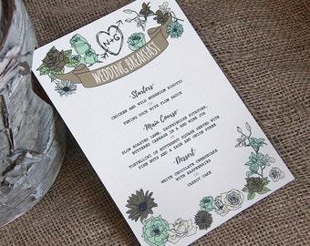 WHIMSICAL WOODLAND wedding breakfast menu