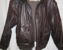 vintage. Charleys leather brown pilots bomber biker A 2 soft supple mens jacket size 44R