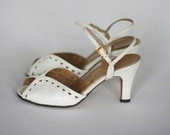 vintage jack rogers white leather peep toe pumps size 4.5M